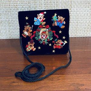 🎄Black Velvet Embroidered Bear Christmas Bag